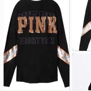 PINK Victoria's Secret Tops - VICTORIA'SSECRET PINK BLING CAMPUS LONG SLEEVE TEE